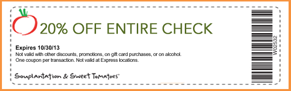 20% Off Entire Check Expires 10/30/2013  Not valid with other discounts, promotions, on gift card purchases, or on alcohol. One coupon per transaction. Not valid at Express locations. W02532